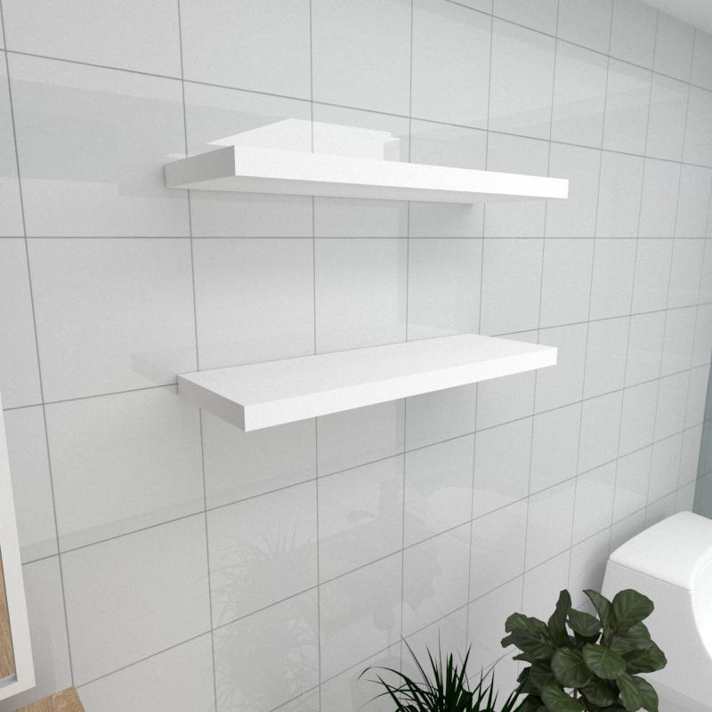 Kit 2 prateleiras para banheiro em MDF suporte Inivisivel branco 60x20cm modelo pratbnb29