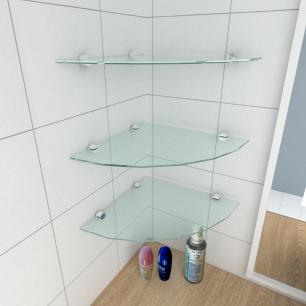 kit com 3 Prateleira para canto de vidro temperado para banheiro profundidade 30 cm