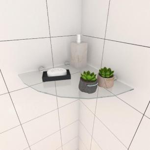 Kit com uma Prateleira para banheiro de canto 30 cm vidro temperado