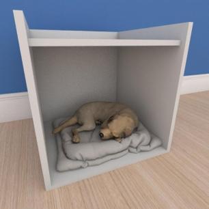 Caminha casinha pequeno cachorro em mdf cinza
