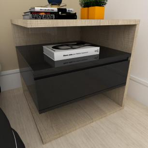 Mesa de cabeceira moderna preto com amadeirado claro