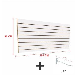 Kit Painel canaletado branco alt 90 cm comp 180 cm mais 70 ganchos 10 cm
