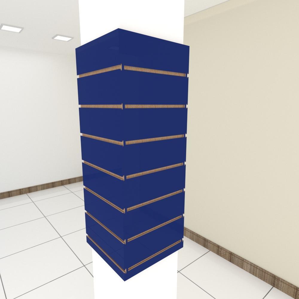 Kit 4 Painel canaletado para pilar azul escuro 2 peças 34(L)x90(A) cm + 2 peças 30(L)x90(A) cm