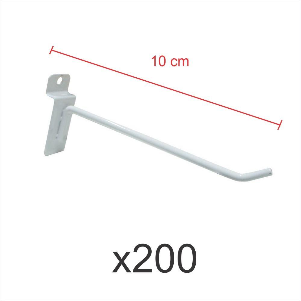 kit para expositor com 200 ganchos 4mm branco de 10 cm para painel canaletado