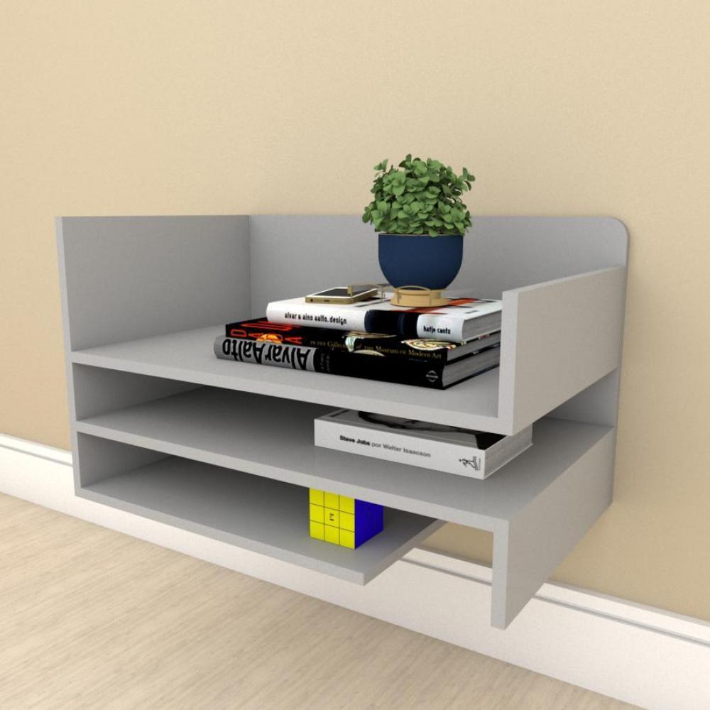 Estante Livros simples com nichos prateleiras em mdf Cinza