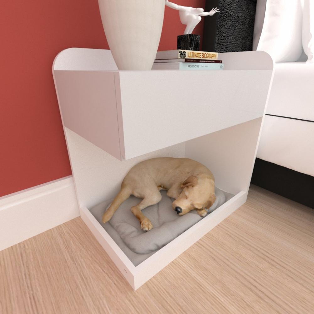 caminha criado mudo cão gaveta mdf cor branco cinza