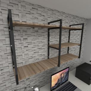 Prateleira industrial para escritório aço cor preto mdf 30cm cor amadeirado escuro modelo ind14aees