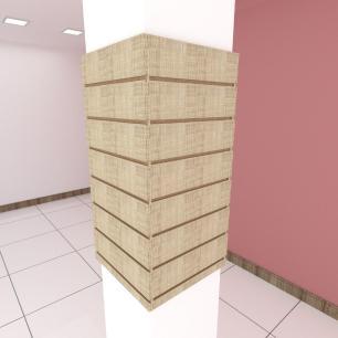 Kit 4 Painel canaletado para pilar amadeirado claro 2 peças 44(L)x90(A)cm + 2 peças 40(L)x90(A)cm