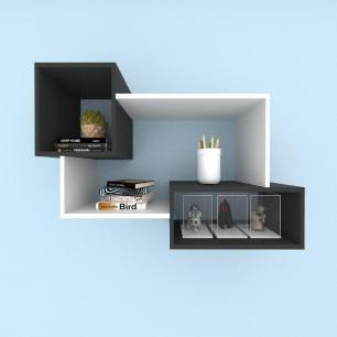 Kit de Nichos multi uso mdf cinza com preto