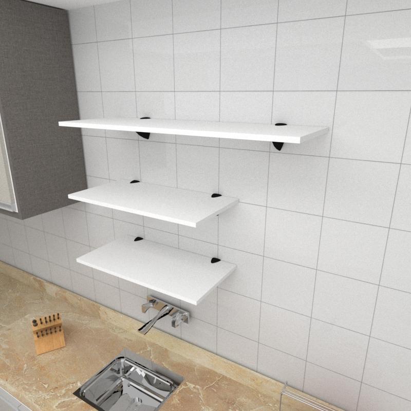 Kit 3 prateleiras cozinha em MDF suporte tucano branco 2 60x30cm 1 90x30cm modelo pratcb15