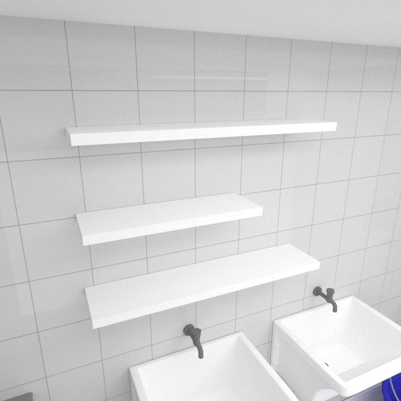 Kit 3 prateleiras lavanderia em MDF sup. Inivisivel branco 1 60x20cm 2 90x20cm modelo pratlvb34