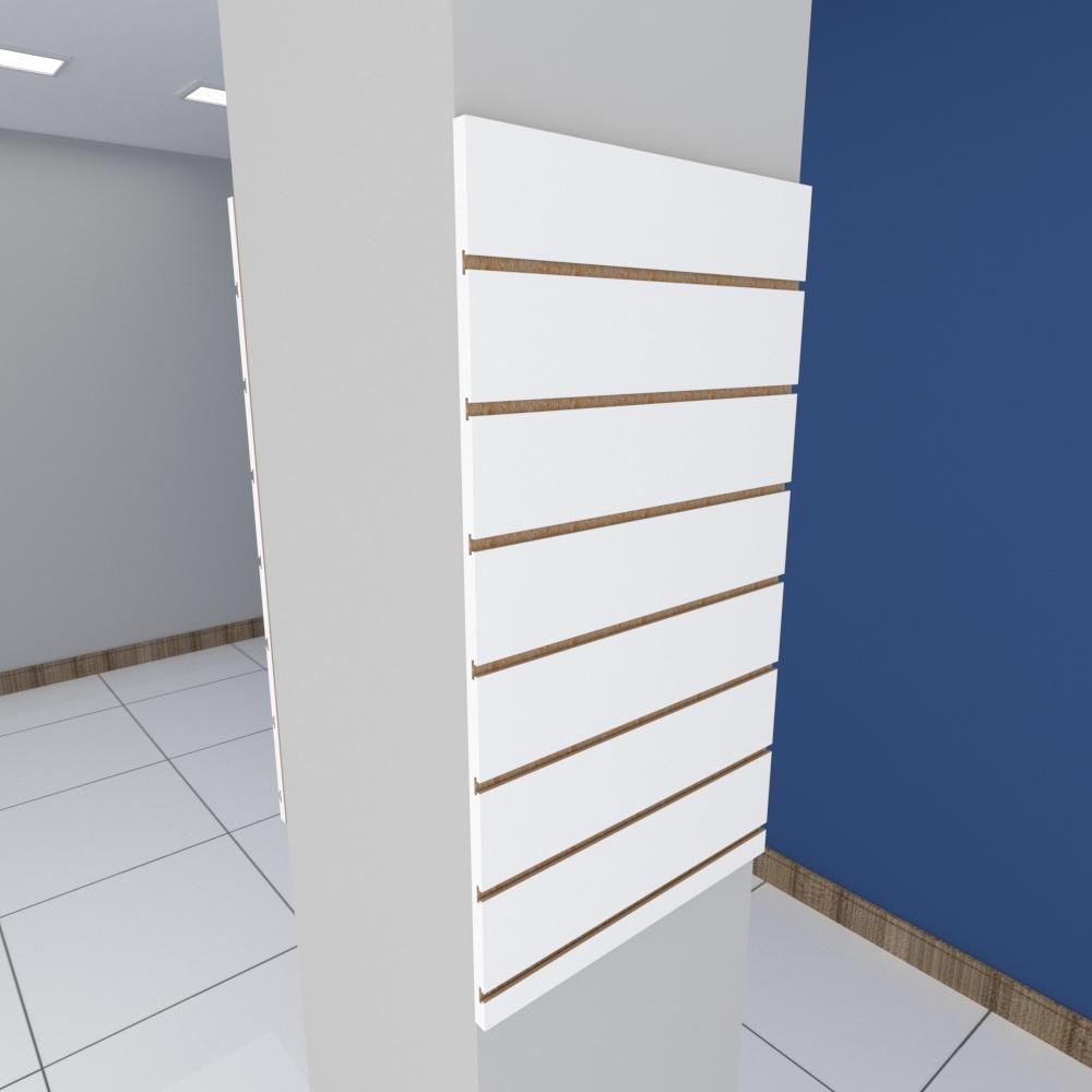 Kit 2 Painel canaletado para pilar branco 2 peças 50(L)x90(A)cm