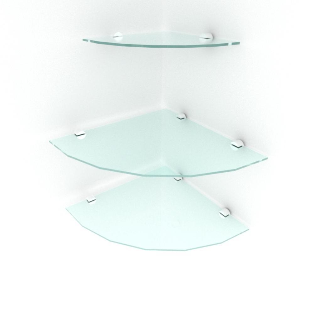 kit com 3 Prateleira para canto de vidro temperado para sala 2 de 30 cm e 1 de 20 cm
