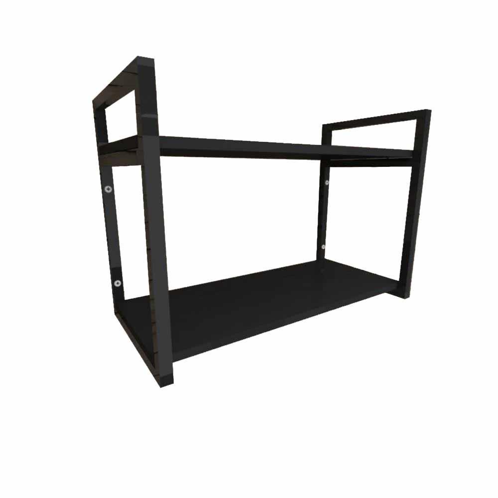 Prateleira industrial aço cor preto 30 cm MDF cor preto modelo indfb01pb