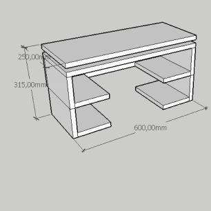 Rack pequeno Moderno com prateleira em mdf cinza