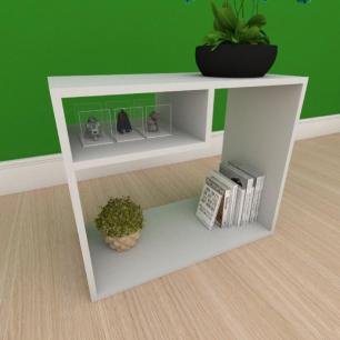 Kit com 2 Mesa de cabeceira simples com nicho em mdf cinza