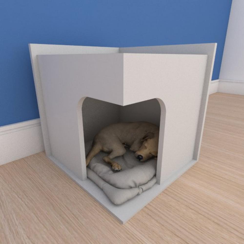 Mesa de cabeceira caminha slim pequeno cachorro em mdf cinza