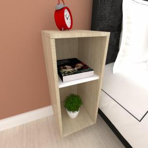 Mini estante para escritório Amadeirado claro com branco