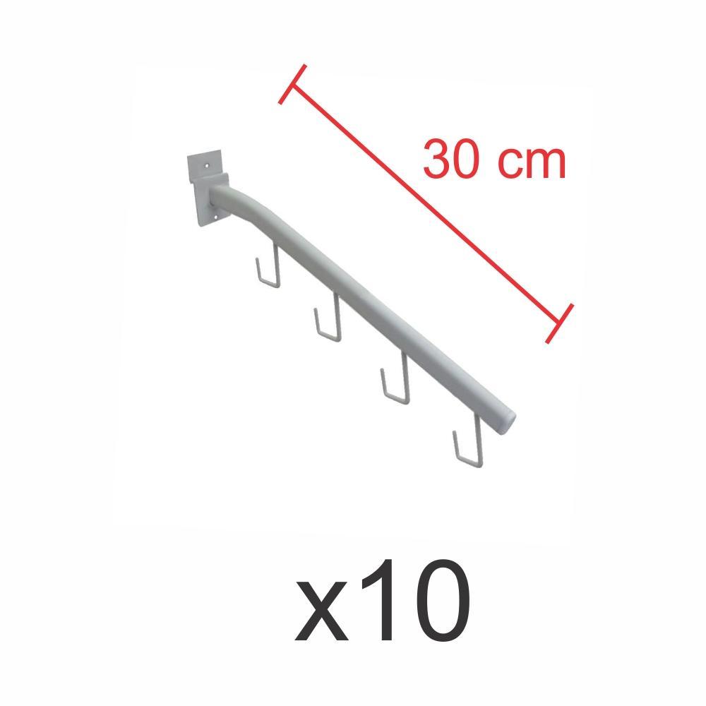 kit para expositor com 10 ganchos rt para bolsas e cintos branco de 30 cm para painel canaletado