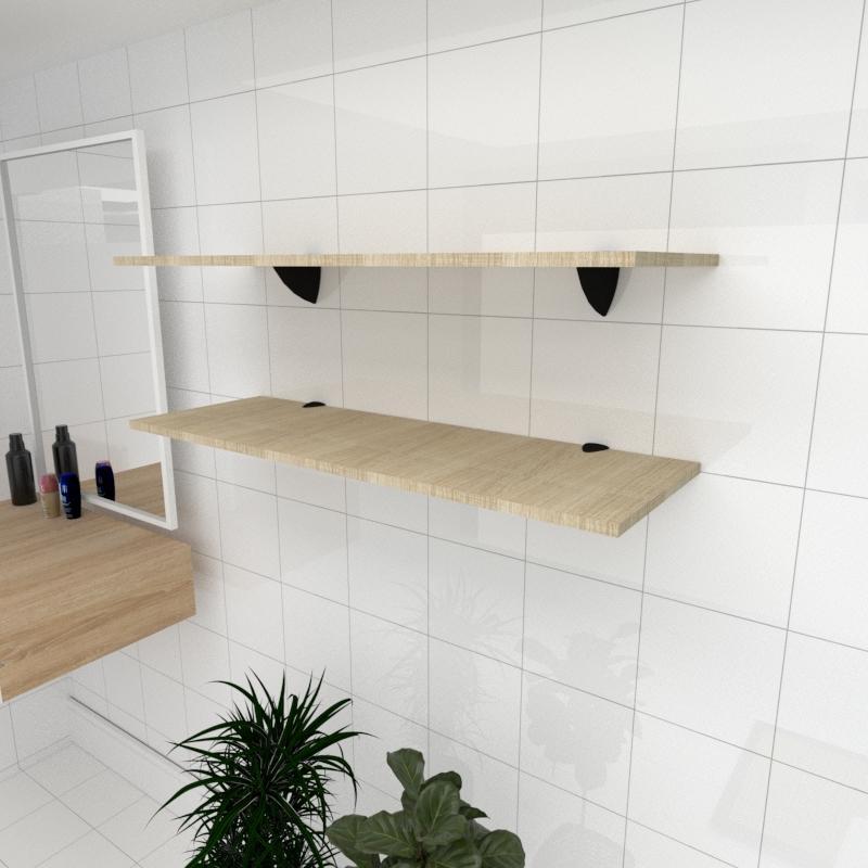 Kit 2 prateleiras para banheiro em MDF suporte tucano amadeirado claro 90x30cm modelo pratbnamc02