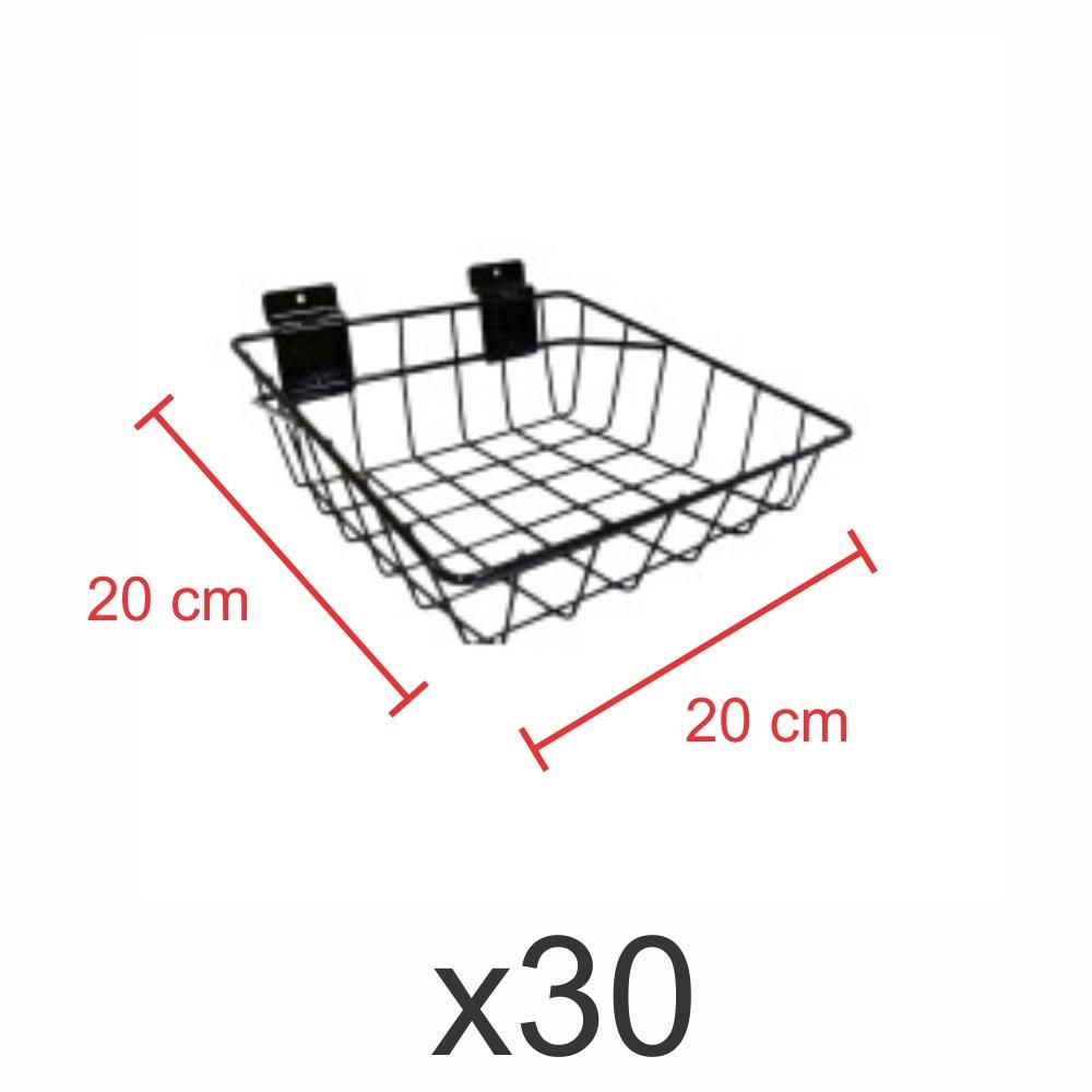 kit para expositor com 30 Cestos para painel canaletado 20x20 cm preto