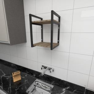 Prateleira industrial cozinha aço cor preto prateleiras 30cm cor amadeirado escuro mod ind24aec