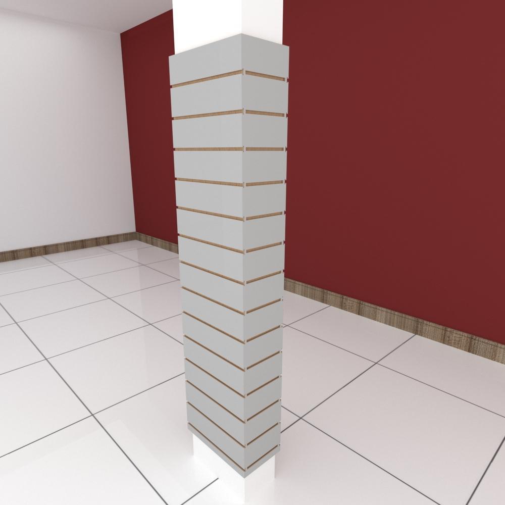 Kit 4 Painel canaletado para pilar cinza cristal 2 peças 44(L)x180(A)cm + 2 peças 20(L)x180(A)cm