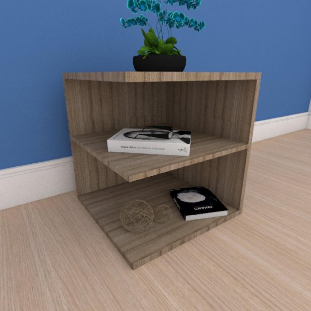 Mesa Lateral compacto com prateleiras em mdf amadeirado