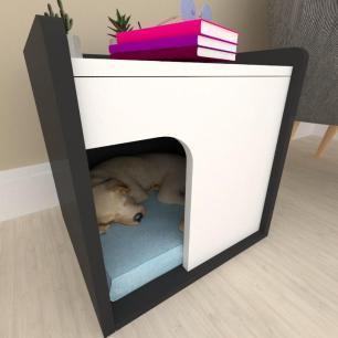 Casinha criado mudo para cachorro mdf preto com branco