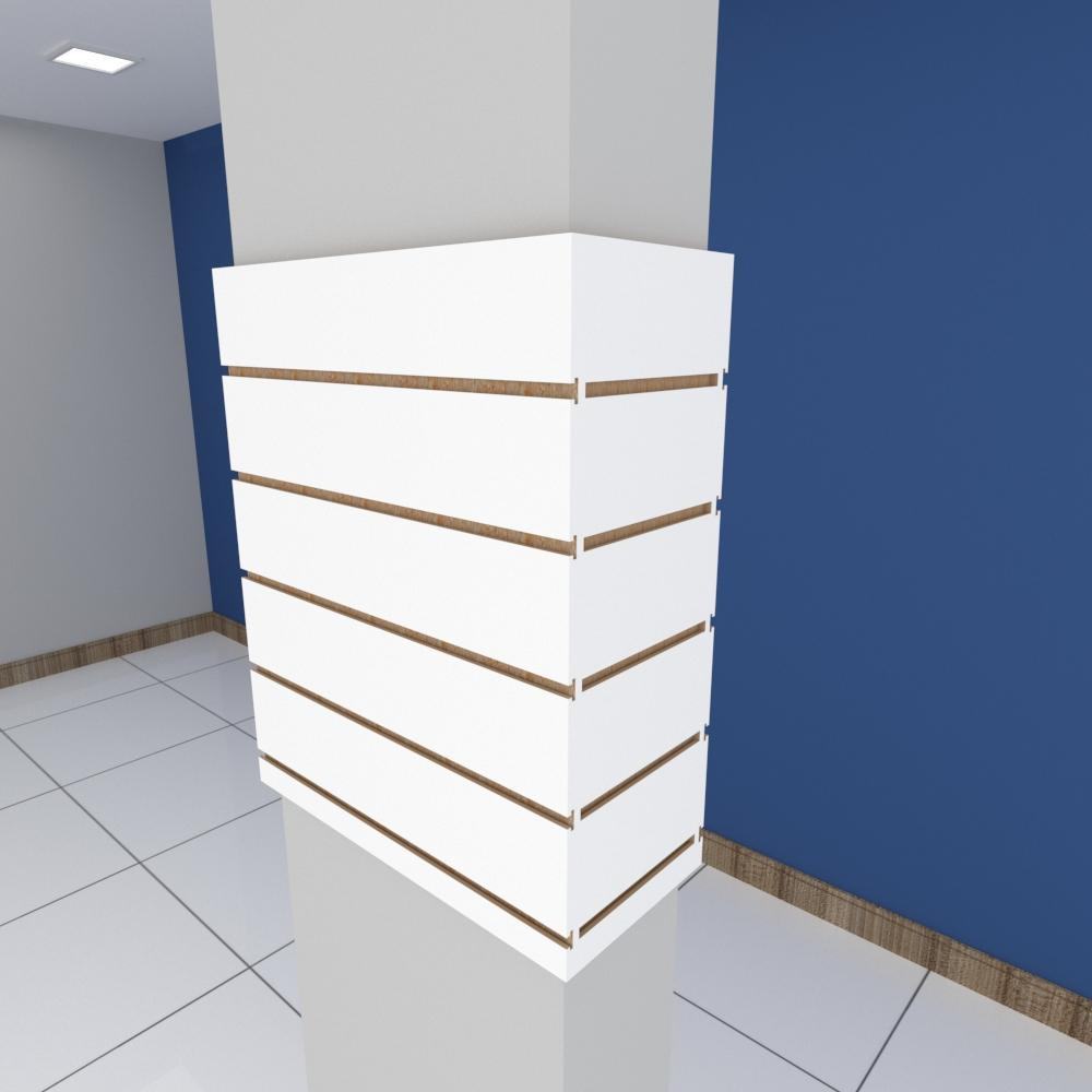 Kit 4 Painel canaletado para pilar branco 2 peças 54(L)x60(A)cm + 2 peças 20(L)x60(A)cm