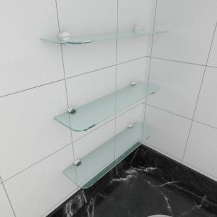 kit com 3 Prateleira de vidro temperado para cozinha 40(C)x8(P)cm