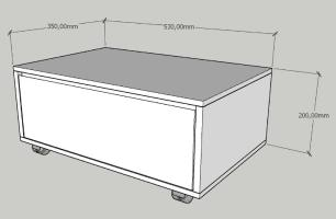 Mesa de centro moderna amadeirado escuro com cinza