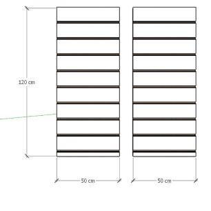 Kit 2 Painel canaletado para pilar azul escuro 2 peças 50(L)x120(A)cm
