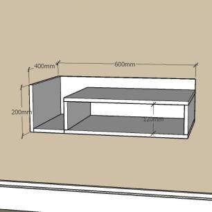 Aparador minimalista com nichos em mdf Amadeirado