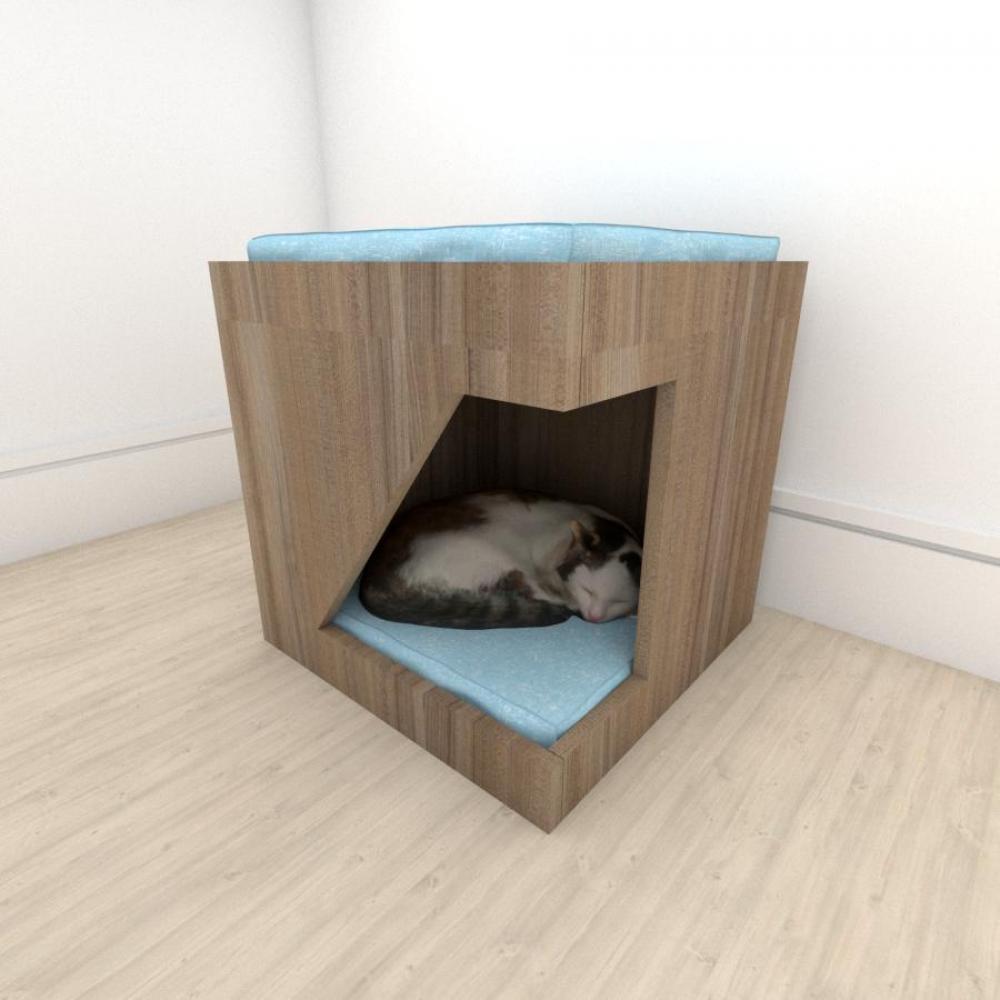 Mesa de cabeceira caminha bercinho para Gato em mdf Amadeirado