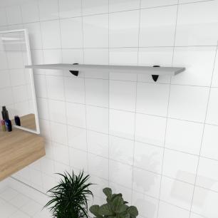 Prateleira para banheiro MDF suporte tucano cor cinza 90(C)x30(P)cm modelo pratbnc01