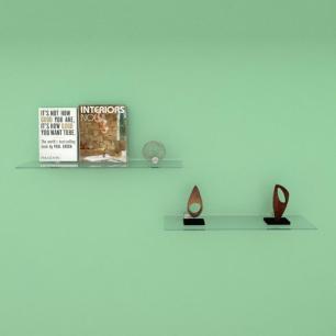 Kit com duas Prateleira para sala 50 cm vidro temperado
