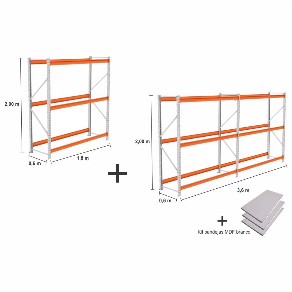 kit 3 exp Mini Porta Pallet 2 inic + 1 cont 250KG Com 3 niveis 2,00X1,80X0,60 + kit bandeja branco
