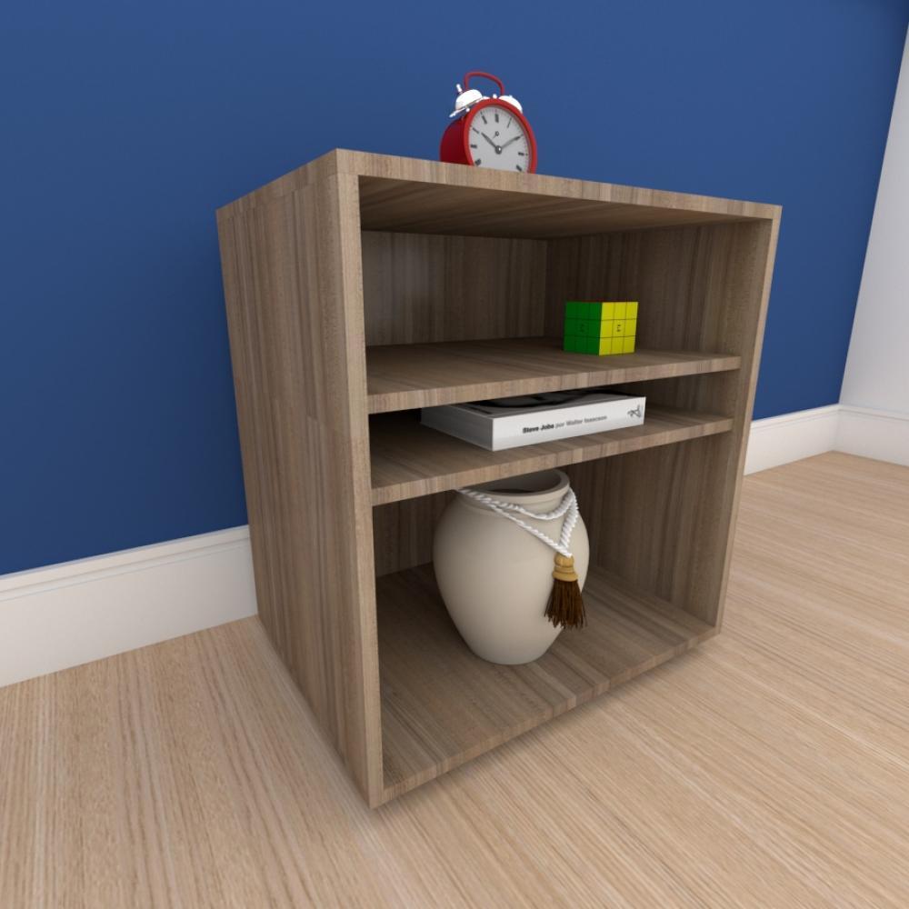 Mesa lateral para sofá formato S slim em mdf Amadeirado