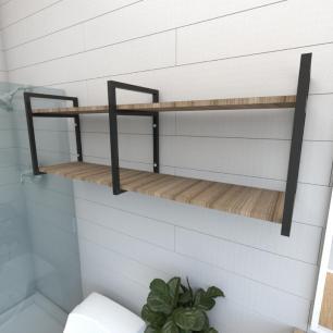Prateleira industrial banheiro aço cor preto prateleiras 30cm cor amadeirado escuro mod ind04aeb