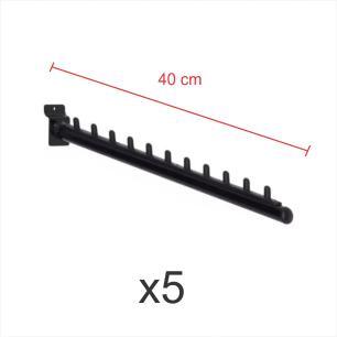 Kit com 5 ganchos rt para roupas preto de 40 cm para painel canaletado