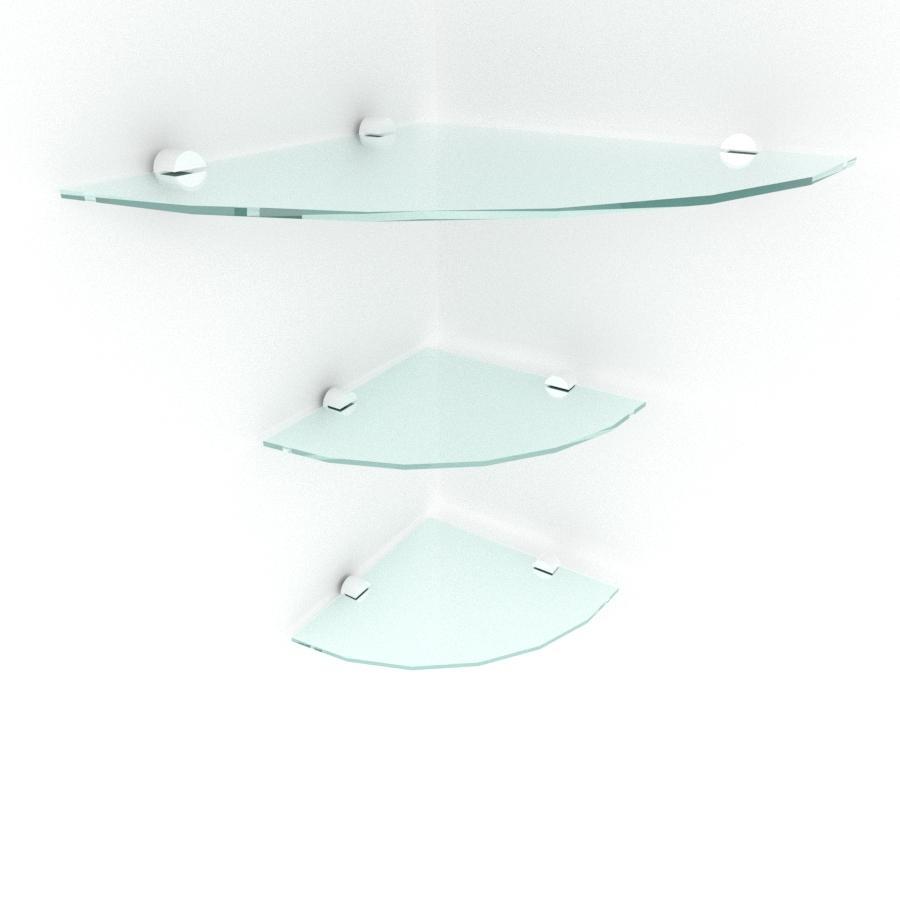 kit com 3 Prateleira para canto de vidro temperado para escritorio 1 de 30 cm e 2 de 20 cm