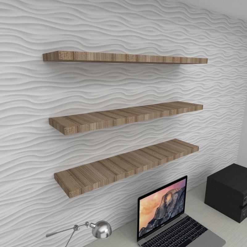 Kit 3 prateleiras  escritório MDF suporte Inivisivel amadeirado escuro 90x20cm mod pratesame27