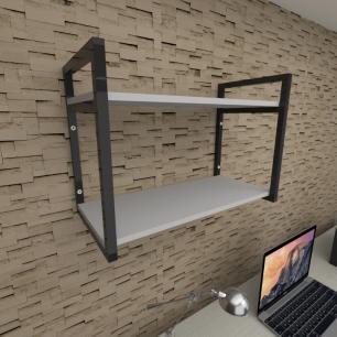 Prateleira industrial para escritório aço cor preto prateleiras 30 cm cor cinza modelo ind01ces