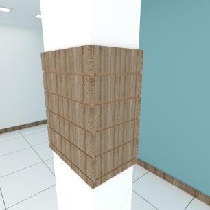 Kit 4 Painel canaletado para pilar amadeirado escuro 2 peças 54(L)x60(A)cm + 2 peças 30(L)x60(A)cm