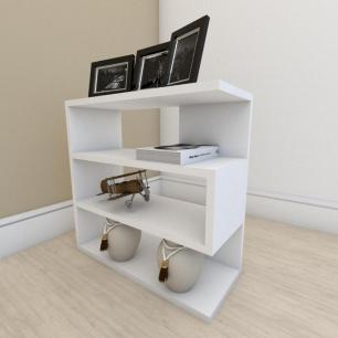Estante para livros moderna com 3 niveis em mdf Branco