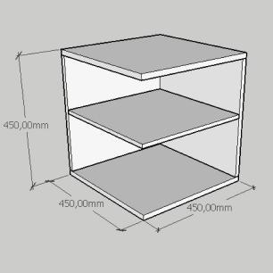 Mesa Lateral compacto com prateleiras em mdf cinza