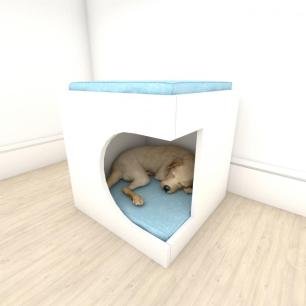 Mesa de cabeceira bercinho casinha para cachorro em mdf Branco