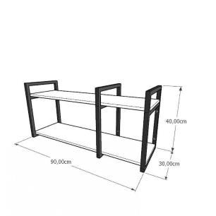 Mini estante industrial para escritório aço cor preto mdf 30cm cor amadeirado escuro mod ind21aeep