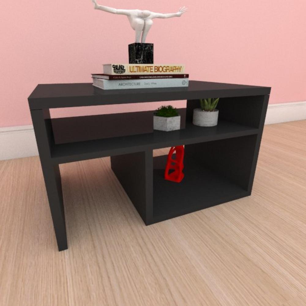 Mesa de centro moderna compacta com prateleiras em mdf preto